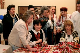 In the process of embroidering the National Unity Rushnyk