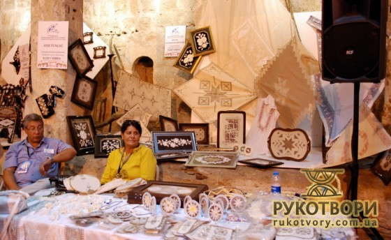 Sevhyul Kaymakamtorunlari was presenting products made of silkworm's cocoons