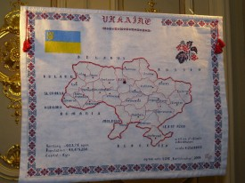 The embroidered map of Ukraine. Tetyana Protcheva
