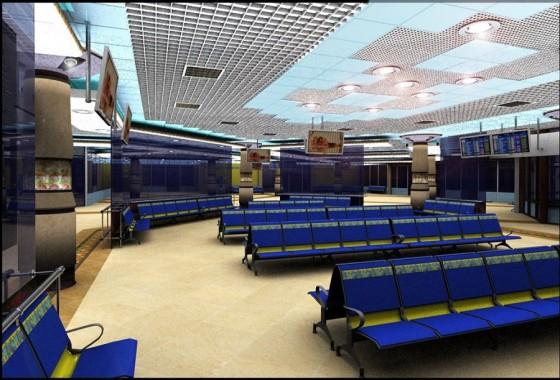 Інтер'єр зали очікуванняя в аеропорті Бориспіль