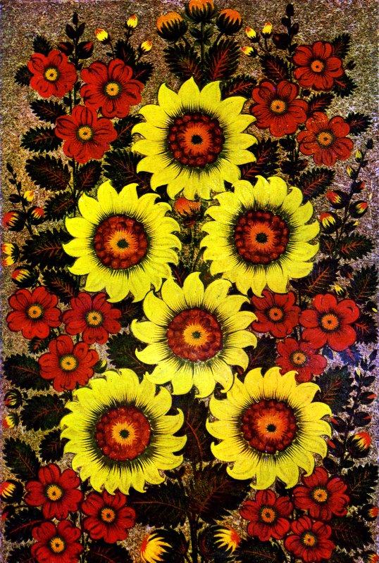 """""""Соняшники і рожі"""" (декоративне панно). Робота Федора Панко."""